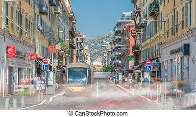 aanzicht, van, plek, garibaldi, timelapse, met, trams, op de straat, en, traffic.