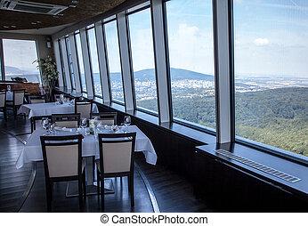 aanzicht, van, restaurant, hoogte, op, bratislava, slowakije