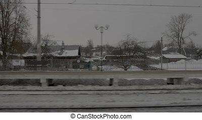 aanzicht, van, spoorwegstation, van, verhuizing, trein