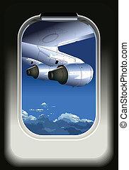 aanzicht, van, vliegtuig