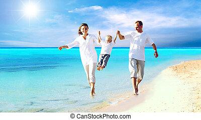 aanzicht, van, vrolijke , jonge familie, hebbend plezier, op het strand