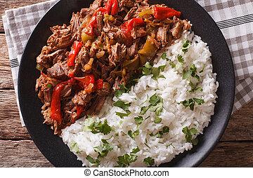 aanzicht, vieja, close-up., cuisine:, horizontaal, latijn, ropa, bovenzijde, rijst, amerikaan