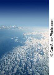 aanzicht, vliegtuig, wolken, hemel, witte , vliegtuig, blauwe