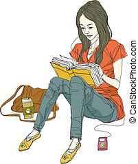 aanzicht, vrouw, bovenkant, boek, lezende