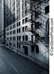 aanzicht, witte , straat, black , chicago