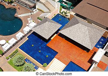 aanzicht, zwemmen, vlila, thailand, luchtopnames, pools, hotel, populair, pattaya