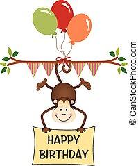 aap, gelukkige verjaardag, met, ballons