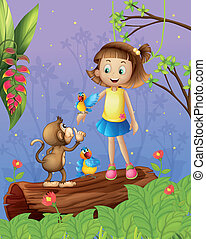aap, twee, jonge, papegaaien, bos, meisje