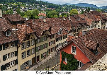 Aarau, Switzerland - street with historical houses in Aarau...