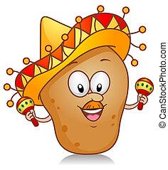 aardappel, spelend, maracas