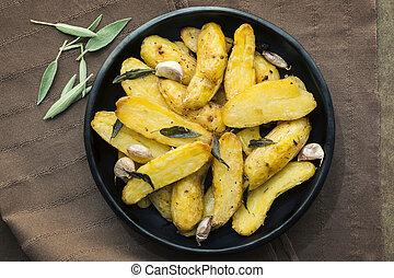aardappels, bladeren, geroosterd, salie, knoflook, fingerling