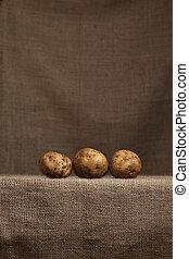 aardappels, (burlap), hessian, het rusten, landbouwer