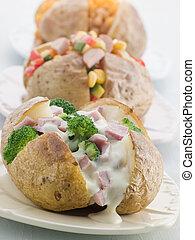 aardappels, selectie, bakt, toppings