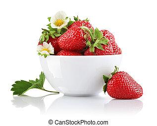 aardbei, bloem, blad, groene, bes