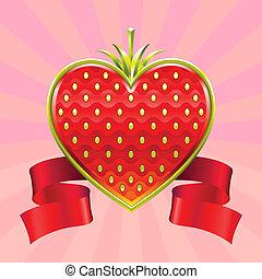 aardbei, dag, valentine