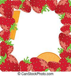 aardbei, frame, vector, sinaasappel
