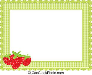 aardbei, gingham, frame