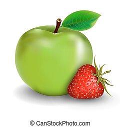 aardbei, groene appel