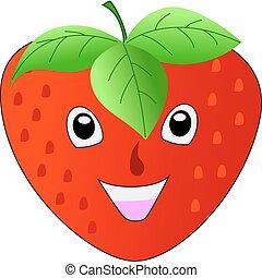 aardbei, het glimlachen