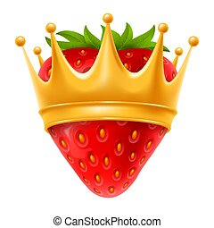 aardbei, kroon, gouden