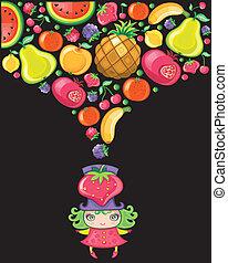 aardbei, meisje, series), (fruity