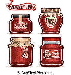 aardbei, potten, jam, glas