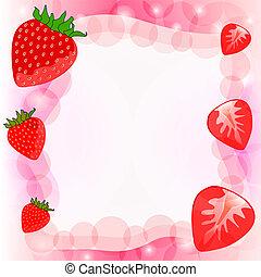 aardbei, vector, rode achtergrond