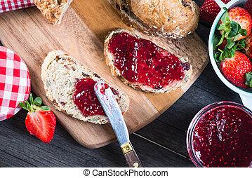 aardbei, verbreiding, jam, brood