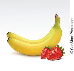 aardbeien, bananen