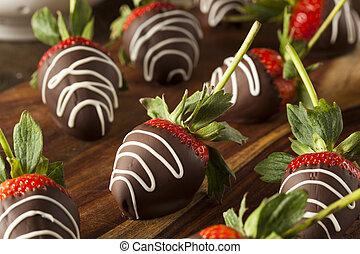aardbeien, gedimd, zelfgemaakt, chocolade