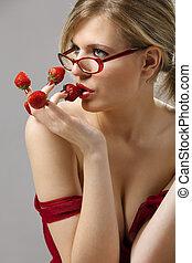 aardbeien, vrouw, rood, uitgelezen, fingertips