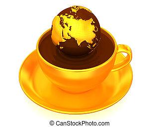 aarde, 3d, coffee., kop