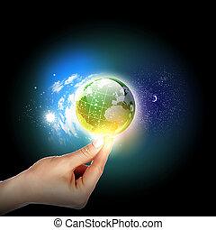 aarde, aanrakende hand