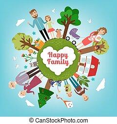 aarde, alles, gezin, vrolijke