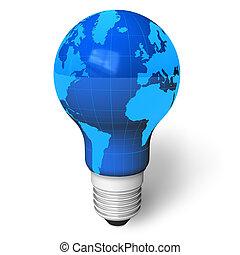 aarde, als, een, lamp