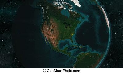aarde, amerika, noorden, zoom