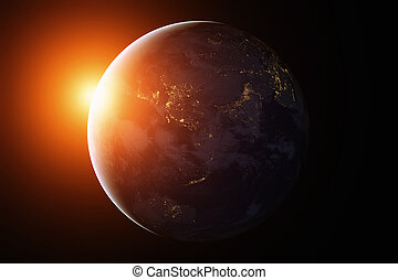 aarde, australia., night., azie, ruimte