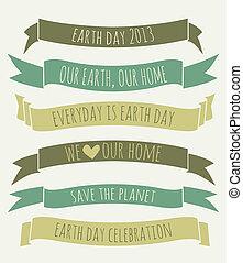 aarde, banieren, dag, verzameling