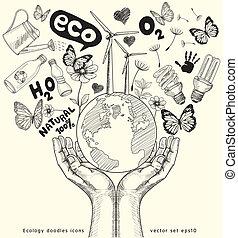 aarde, boompje, hands.