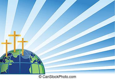 aarde, bovenzijde, kruisen, heilig