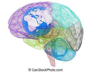aarde, brain., render, 3d