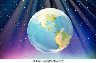 aarde, buitenst, scène, ruimte