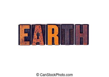 aarde, concept, type, vrijstaand, letterpress