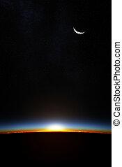 aarde, door, atmoshere, zonopkomst