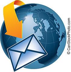 aarde, email, omringen