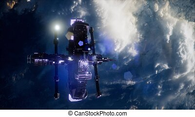 aarde, en, buitenste ruimte, station, iss
