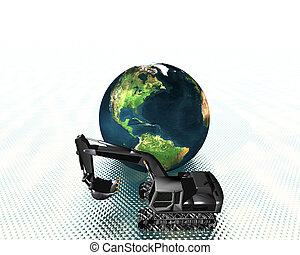 aarde, en, graafwerktuig