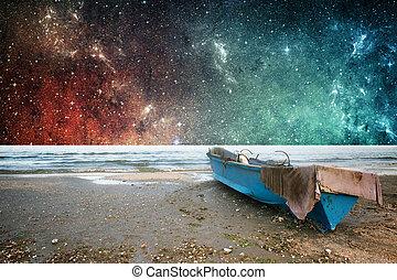 aarde, en, ruimte, fantasie, behang