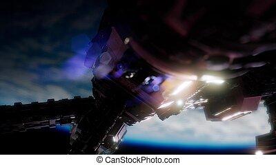 aarde, en, spacecraft., ruimteschip, op, de aarde