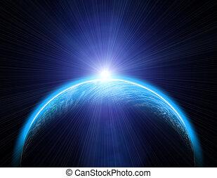 aarde, en, zon